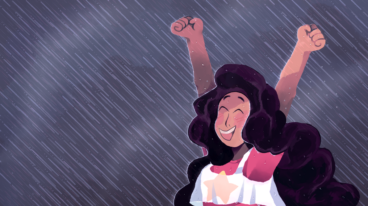 I needed a new desktop background so I drew Stevonnie + rain... Both very treasured by me. ;3 You can also use it if you want !!
