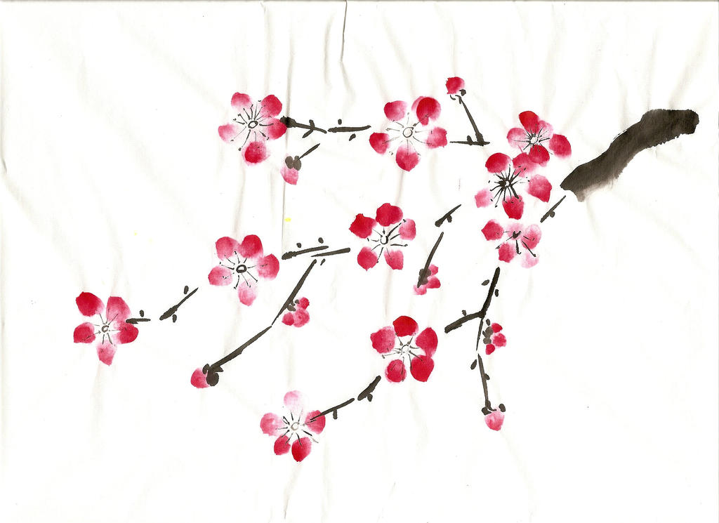 Chinese blossom painting by beamcannon on deviantart for Simple cherry blossom painting