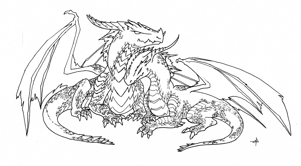 Dragon Lineart : Dragon pair lineart by dogmaniac on deviantart