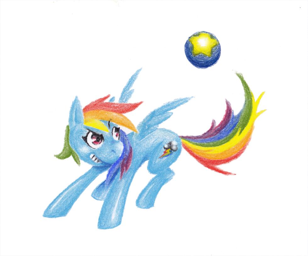 RainbowDash-playing ball by Dogmaniac