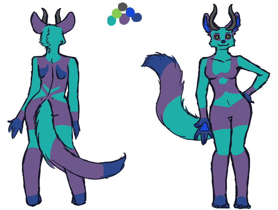 Commission- Fursona Reference from fireworksinice by dolliebones