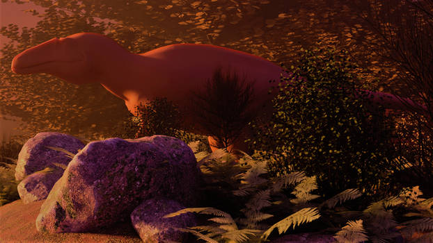 acrocanthosaurus in the early morning