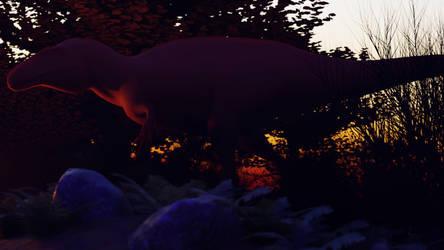 acrocanthosaurus at dusk
