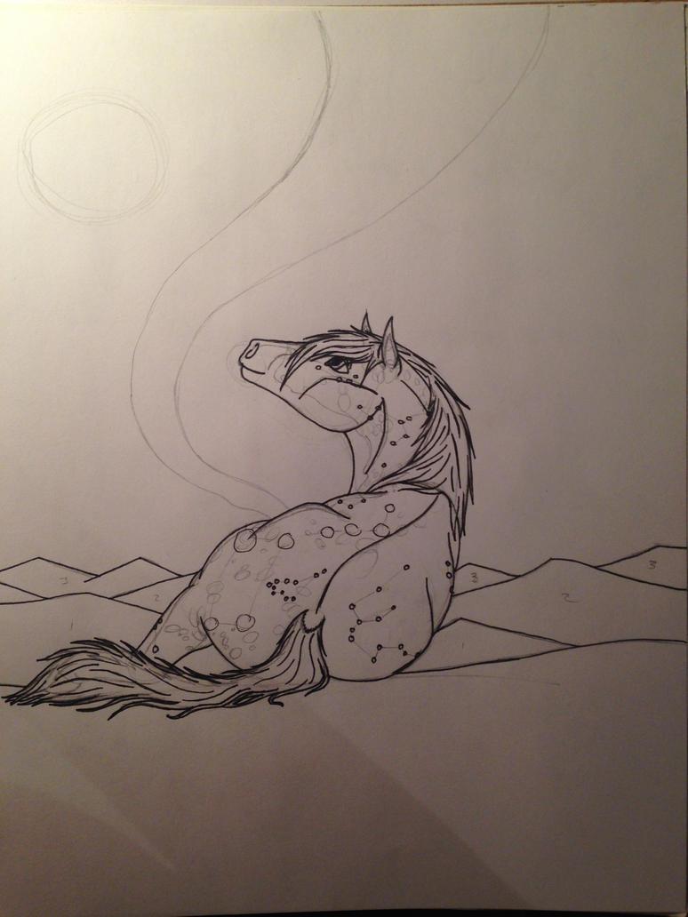 Luna Azul | Under The Northern Lights -WIP-Sketch by KarmaArt666