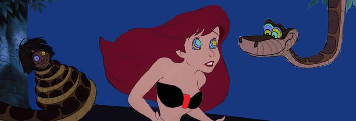Kaa hypnotizes Ariel and Mowgli