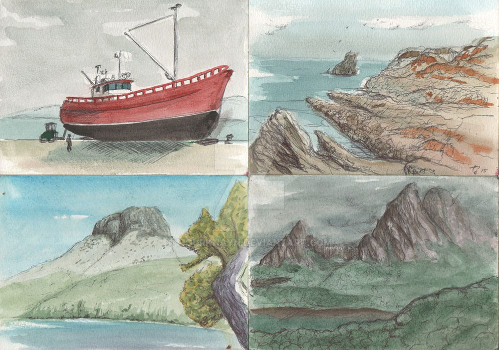 Tasmania - Watercolor Sketches 1 by Mourkhayn