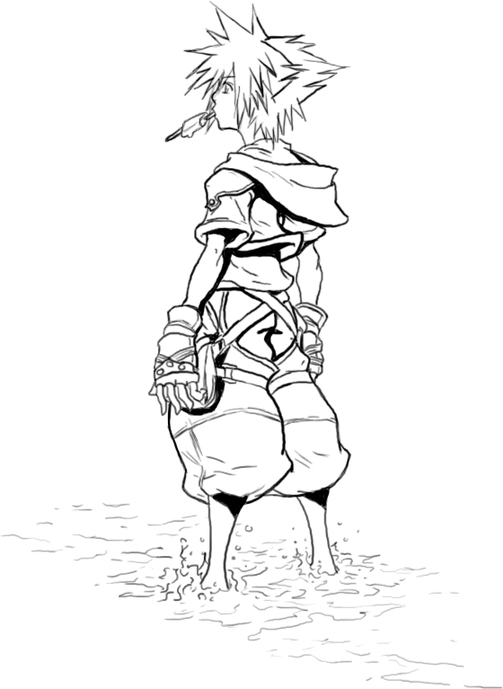 Sora Kingdom Hearts Lineart : Kingdom hearts line art by jake on deviantart