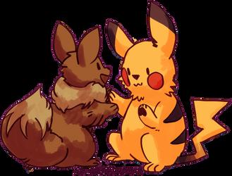 pikachu and eevee by astyrra