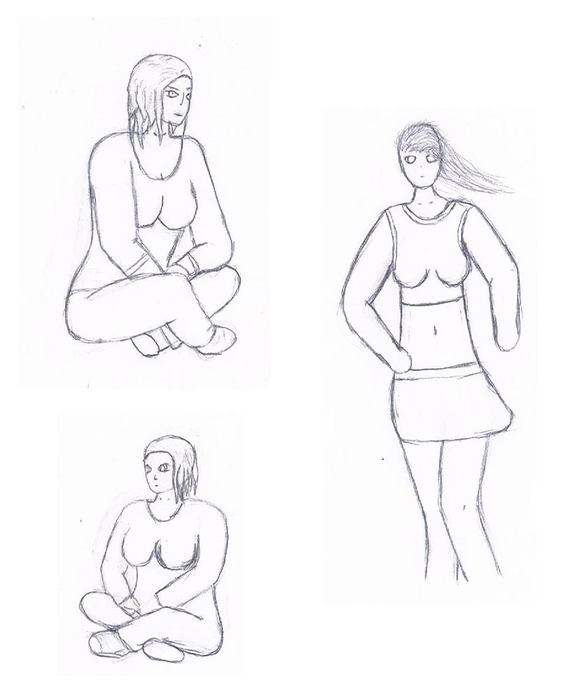 little female doodles by UrsusVanDraco