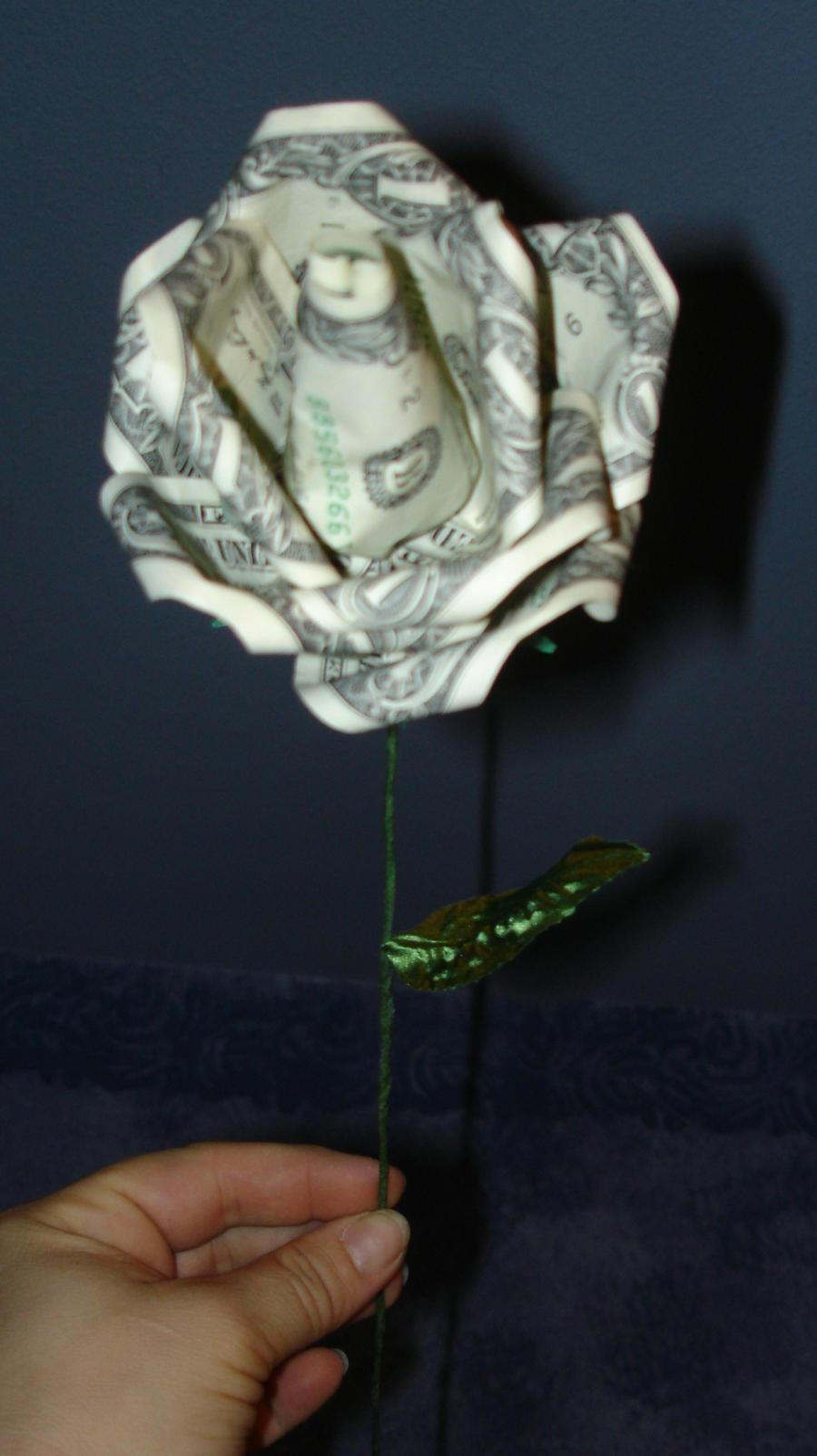 origami money rose by pandaraoke on DeviantArt - photo#15
