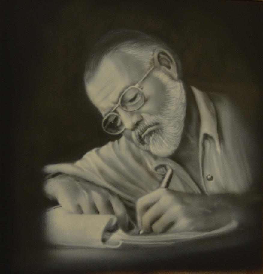 portrait of Hemingway. Airbrushing by Nelsonito