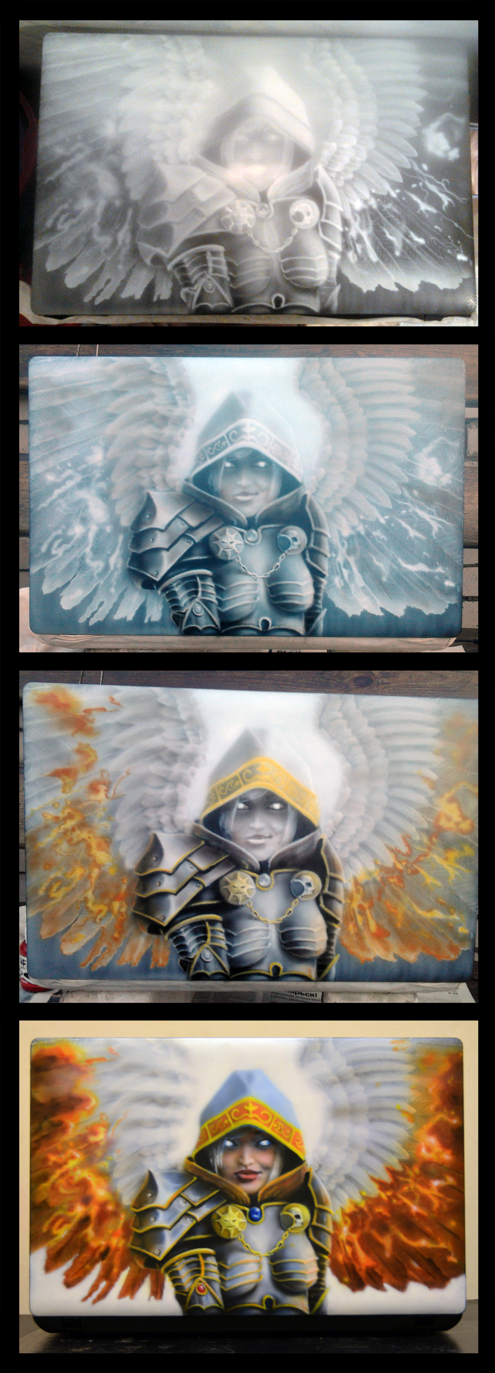 Notebook airbrushing step by step by Nelsonito