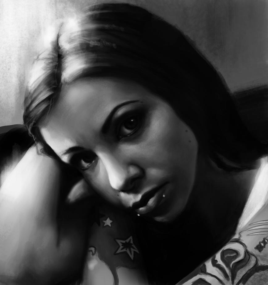 Krysta Kaos black n grey portrait by Nelsonito