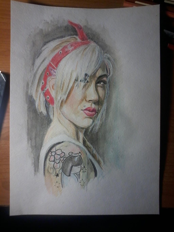 watercolour pencils portrait study by Nelsonito