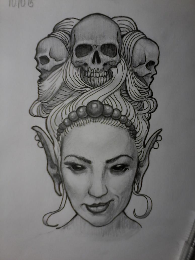 Dark Elf Tattoo Sketch by Nelsonito