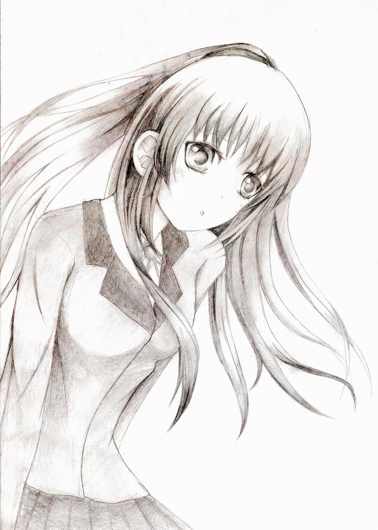 AngelBeats Angel Sketch by miru-tan