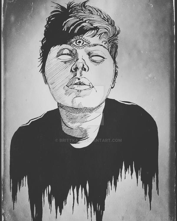 Self Portrait in Ink by brittkay
