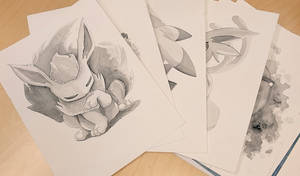 Pokemon illustrations in washed acrylics