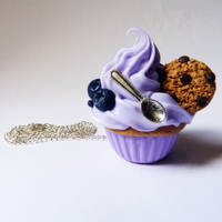 purple cupcake necklace by lemon-lovely