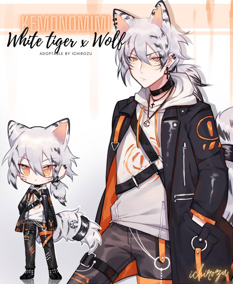 [ADOPTABLE] Snowy Tiger-wolf hybrid / CLOSED
