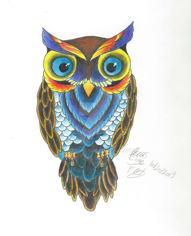 Owl Color Practice By Tattoofox On Deviantart Really Owl Drawings With Color