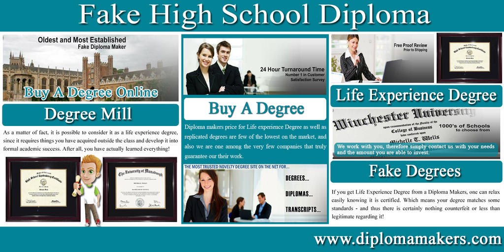 Fake High School Diploma by OnlineCollegeDegree