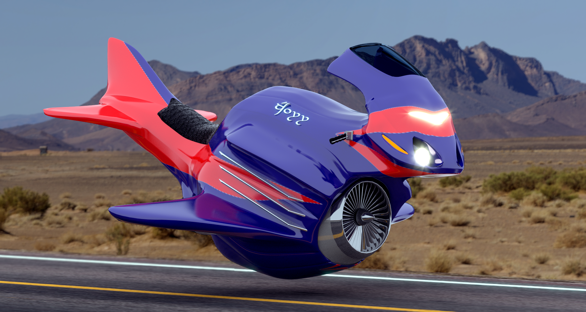 glisseur moto futuriste by geek3dfr. Black Bedroom Furniture Sets. Home Design Ideas
