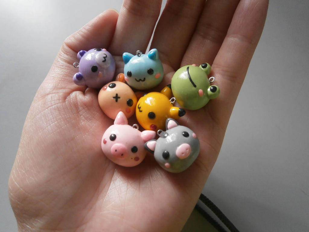 colorful animal polymer clay charm by dsam4