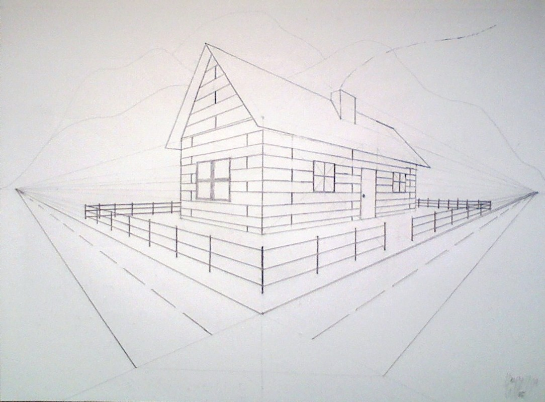 1 Point Perspective Room Tutorial