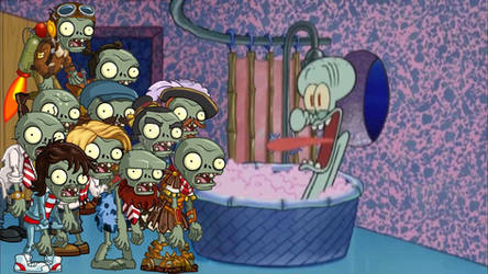 Basic Zombies drop by Squidward's house part 2 by pinkiecute502