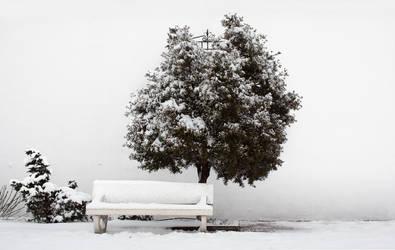 Banco y Arbol con Nieve