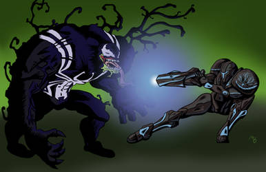 Venom vs Dark Samus by BlackSnowComics