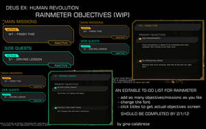 Deus Ex: HR Rainmeter objectives skin WIP by gina-calabrese