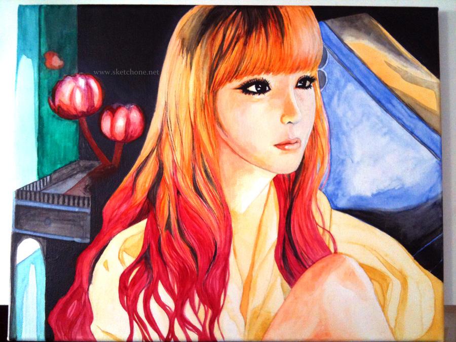 Park Bom 2ne1 Painting Fanart By Antuyetlai On Deviantart