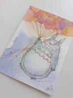 Totoro mini fan art card by antuyetlai