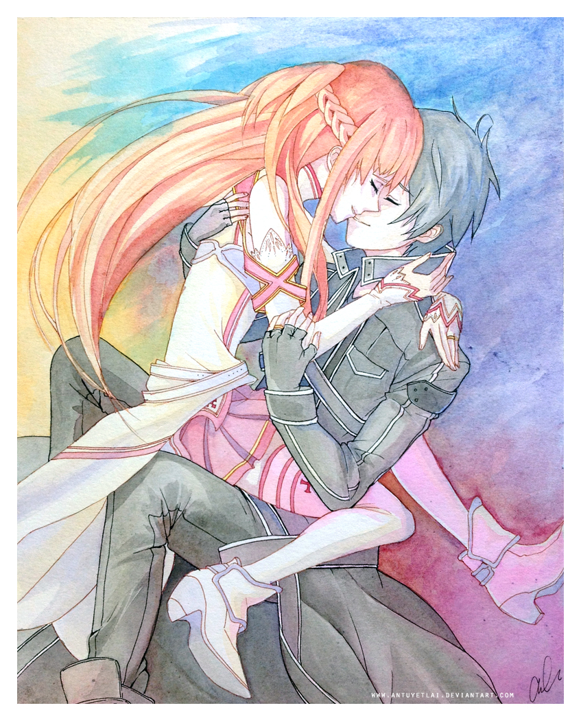 Kirito and Asuna -- Sword Art Online fan art by antuyetlai