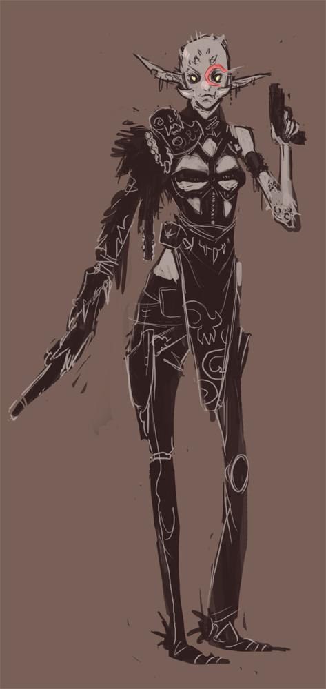 Concept WIP: Goblin Gunslinger by UlaFish