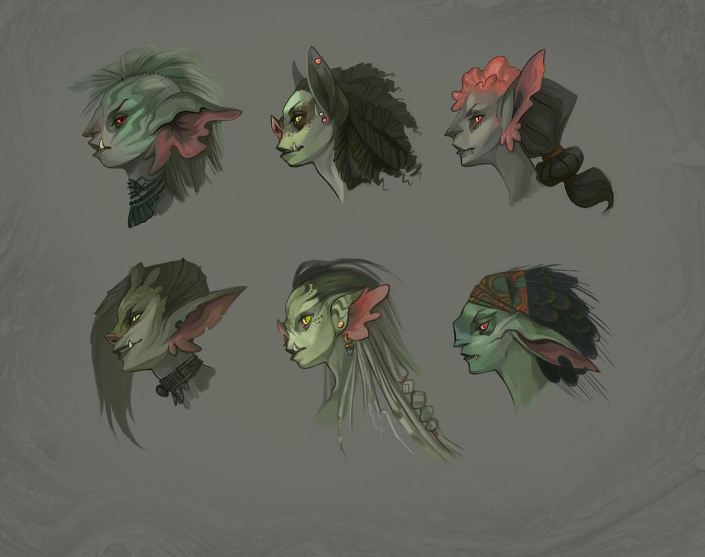 Goblin Head Concepts by UlaFish