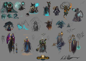 Support character idea sketches for Dawngate by UlaFish