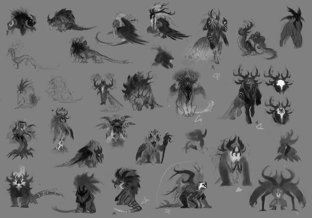 Creature sketches- The Parasite by UlaFish