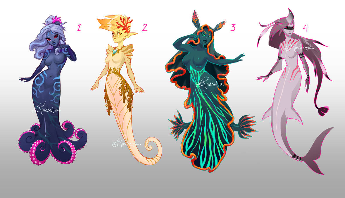 [3 and 4 OPEN] Adopt Auction - Mermaids 01 by UlaFish