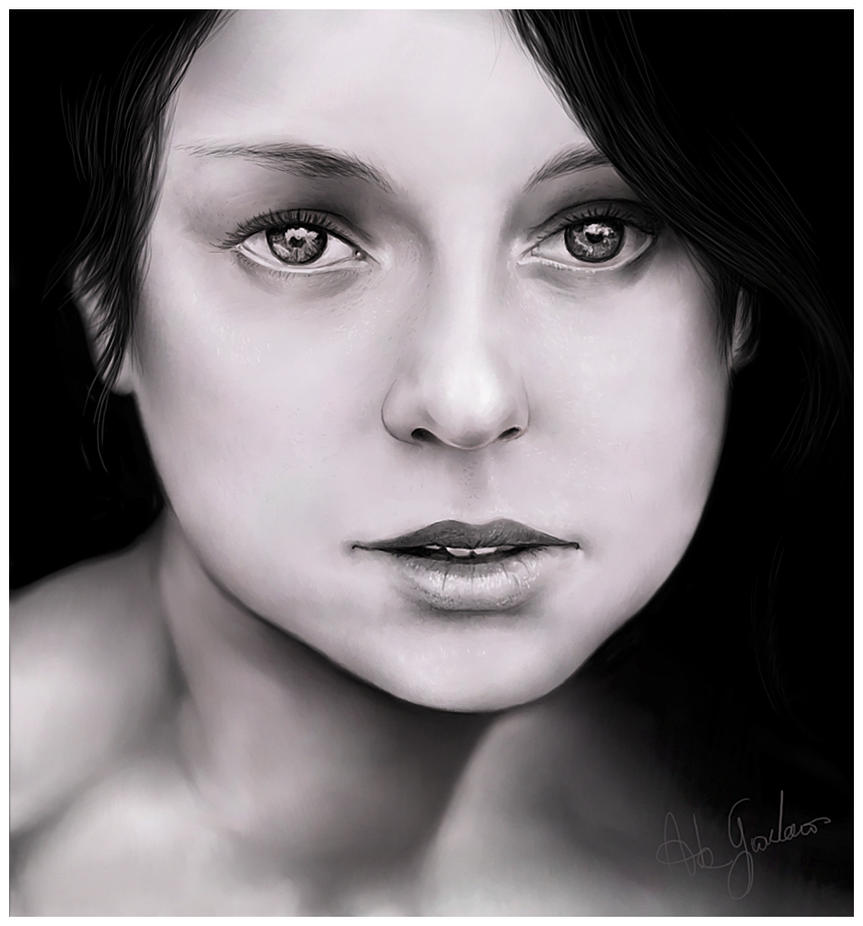 B-W girl portrait by jordygraph