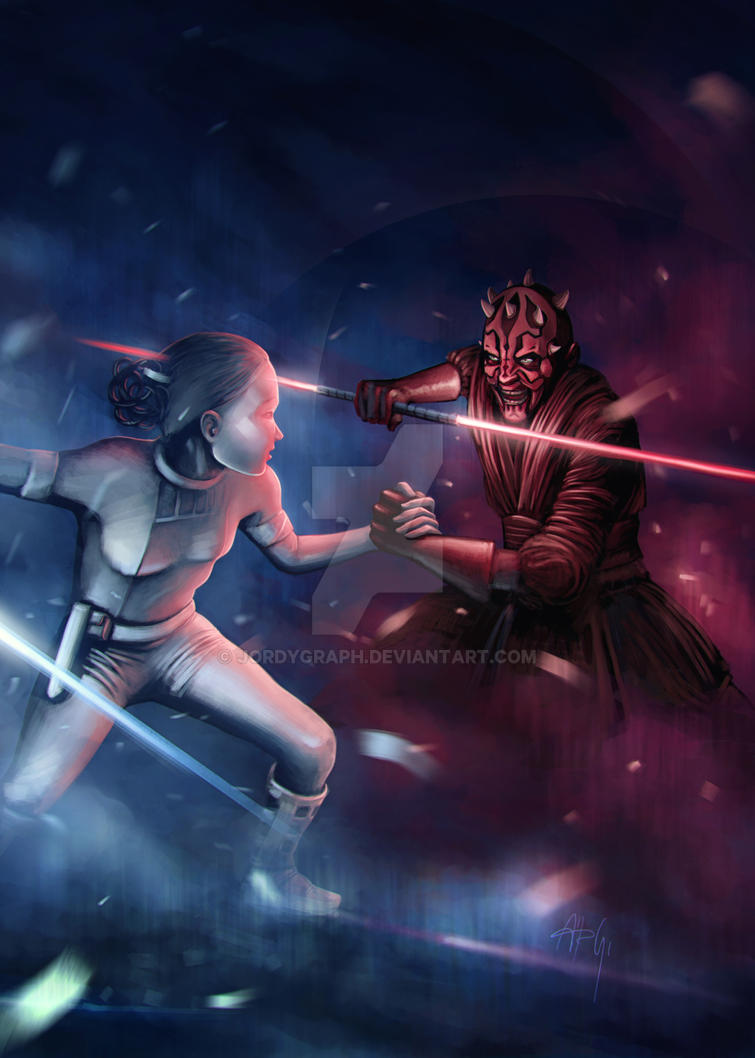 Darth Maul fighting with Padme Amidala by jordygraph