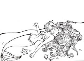 The Little Mermaid Lineart by blondesquirrel