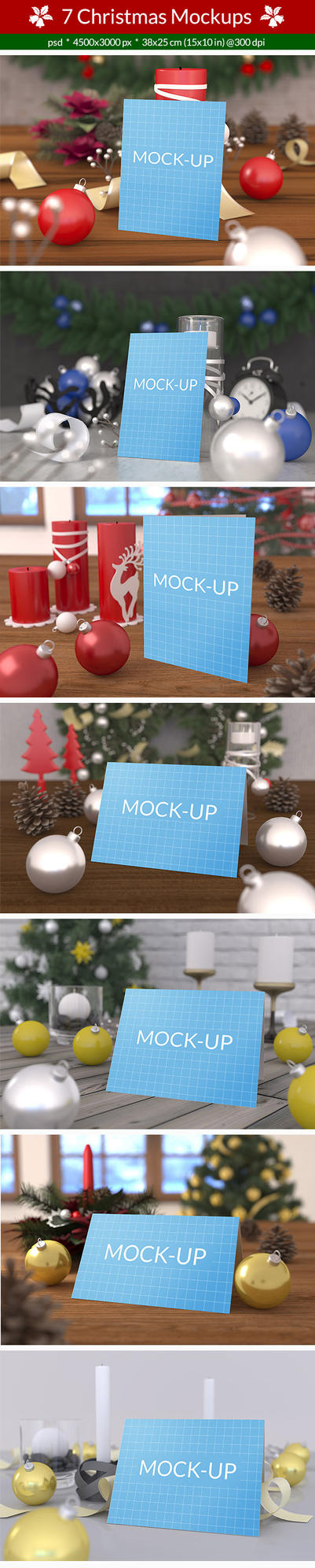 7 Christmas Card Mockups by C-3PO-upg