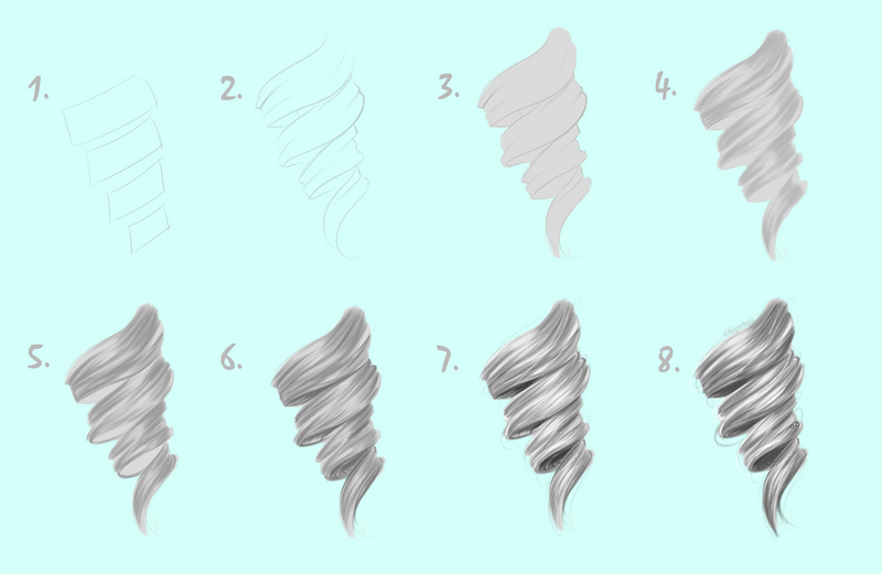 Video tutorial how to draw hair curl by kipichuu