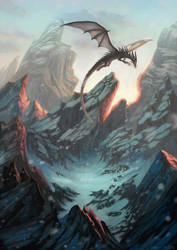 Dragon and Mountains by Jasinai