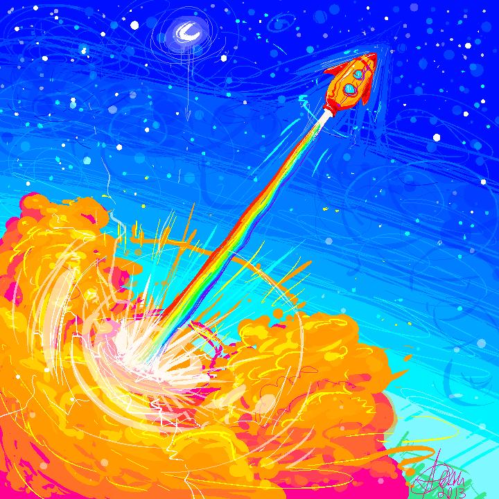 rainbow rocket by Shark-Bites