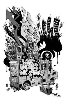Los Angeles Ink Stains Print