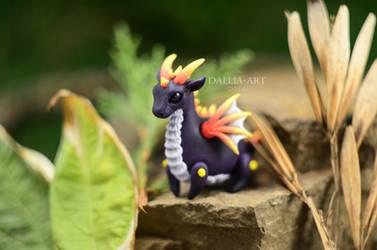 Ball-jointed dragon - dark purple by dallia-art